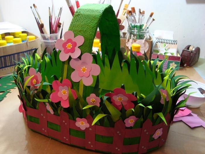 Бумажная корзина с цветами своими руками