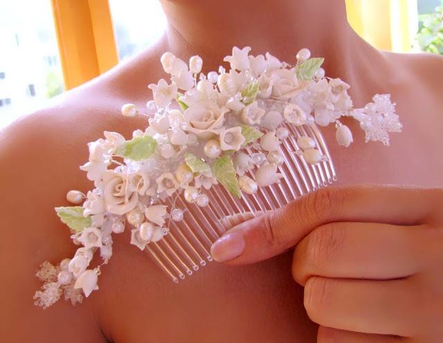 Гребень с цветами на свадьбу своими руками