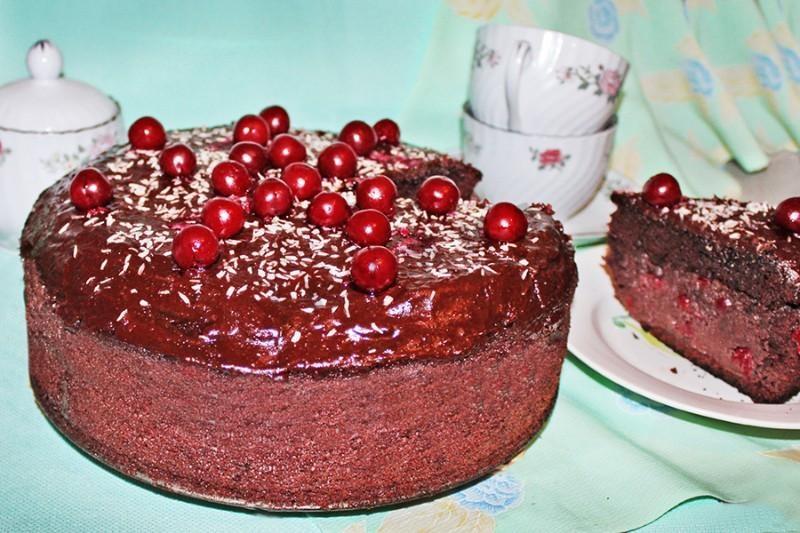 Торт пьяная вишня пошаговый рецепт с фото в мультиварке