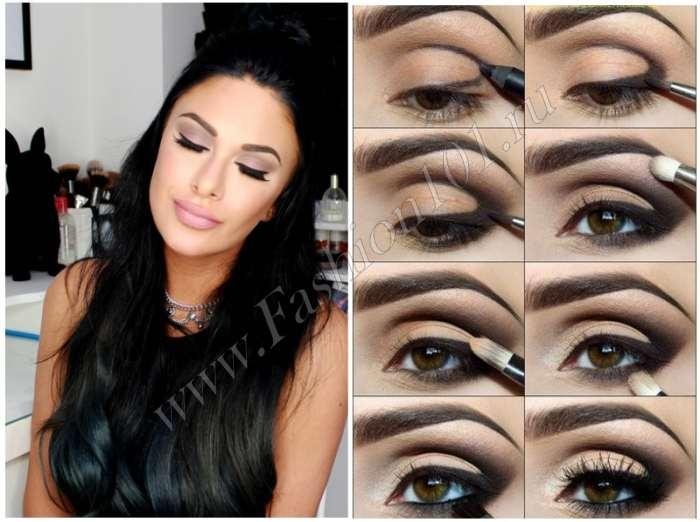 Простой макияж для карих глаз с