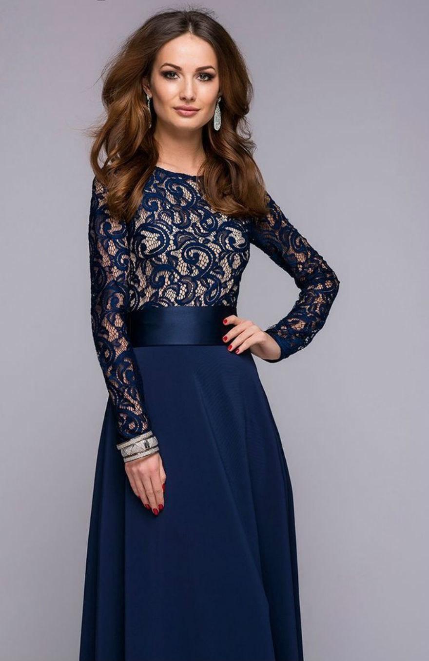 Платье длинное с кружевным верхом