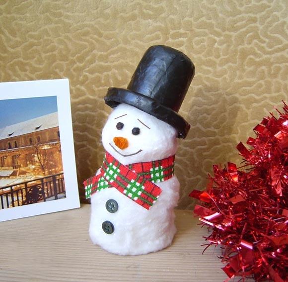 Новогодняя поделка снеговик своими руками из ваты