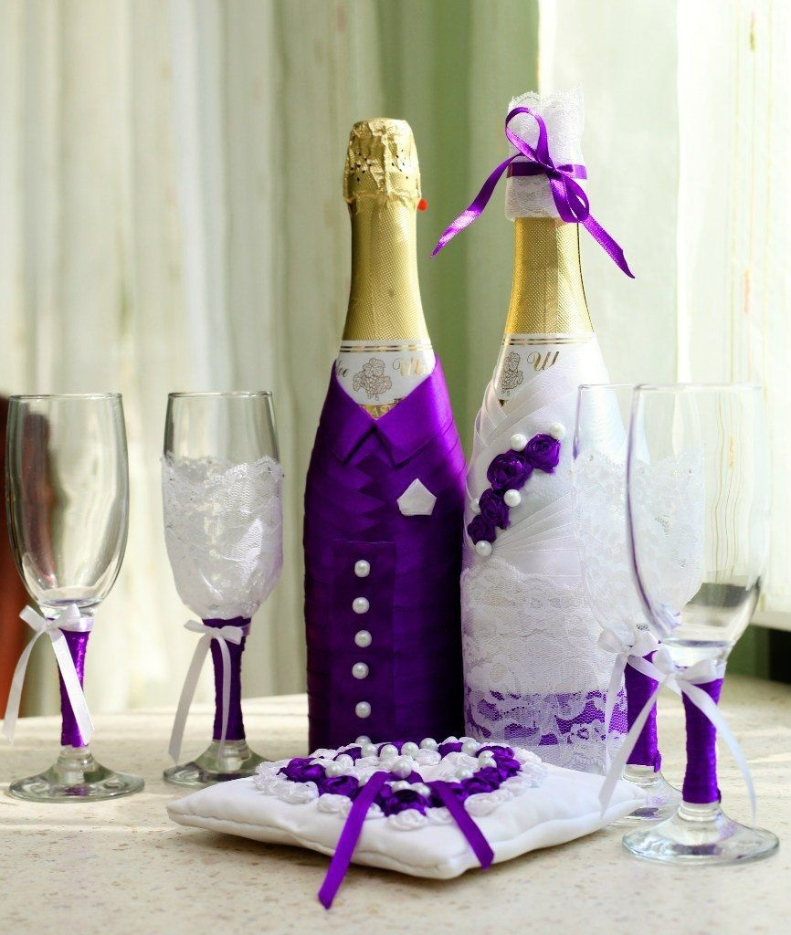 Как оформить бутылку шампанского на свадьбу лентами