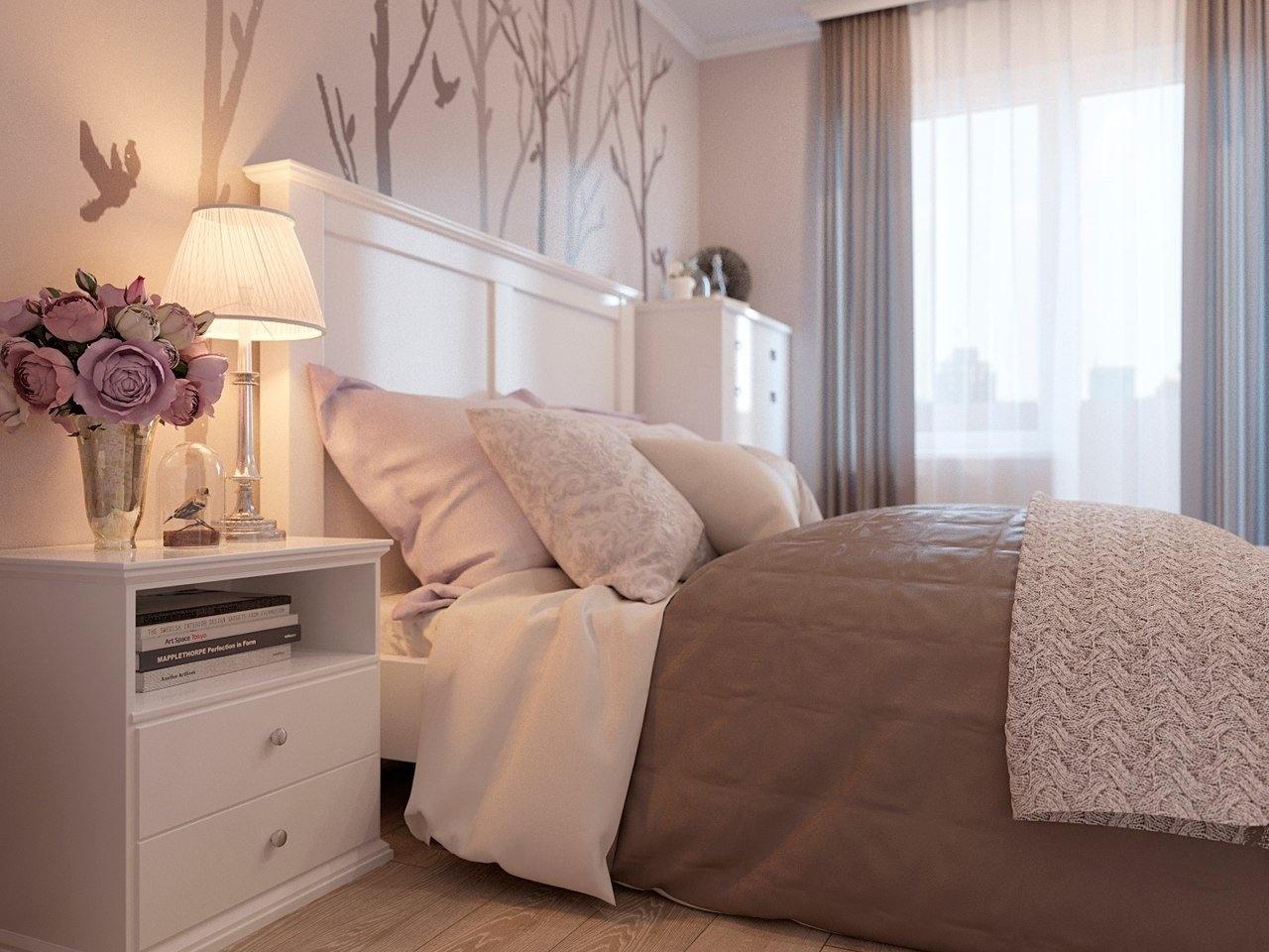 Нежная спальня дизайн интерьера