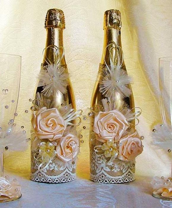 Фото украшения бутылок своими руками
