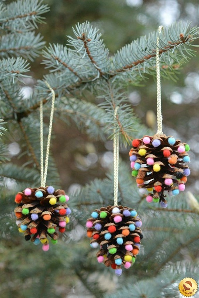Новогодние украшения шишки своими руками