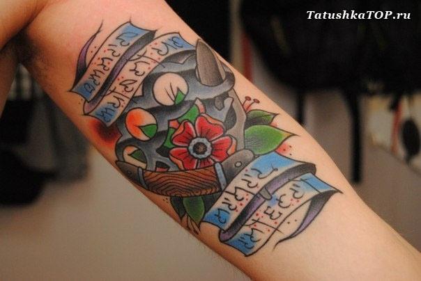 Цветные тату для мужчин на руке