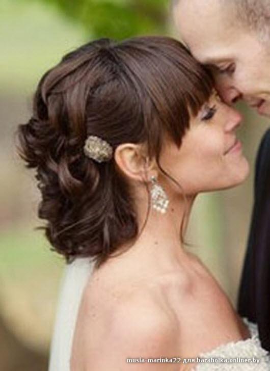 Свадебная прическа на короткие волосы с челкой пошагово