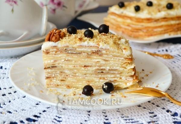 Блинный торт с творожным кремом пошаговый рецепт