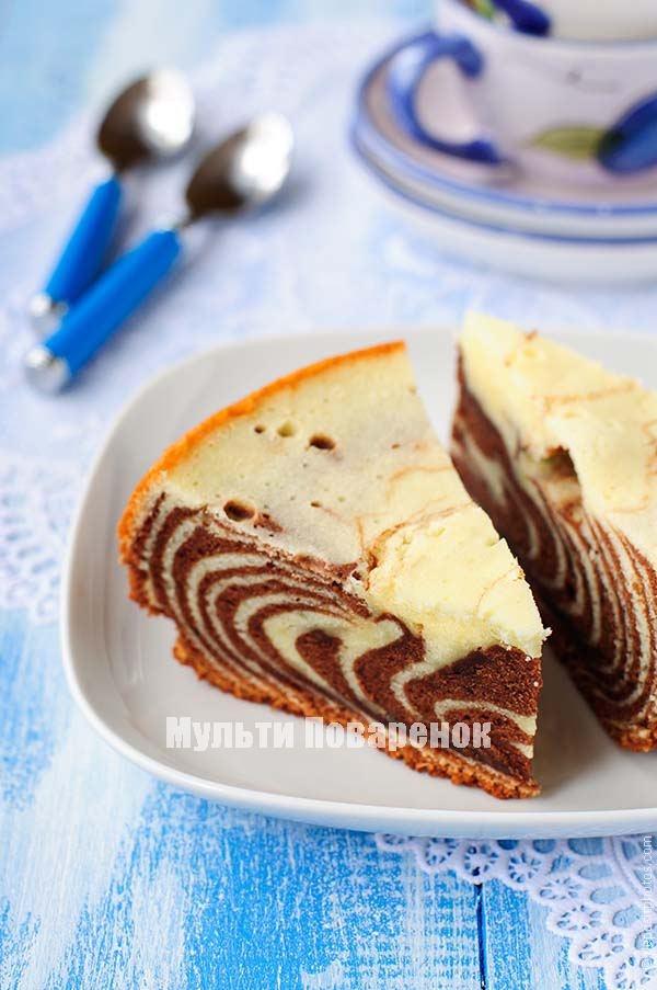 Рецепт пирога зебра в мультиварке