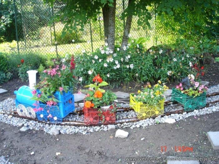 Паровоз для сада своими руками