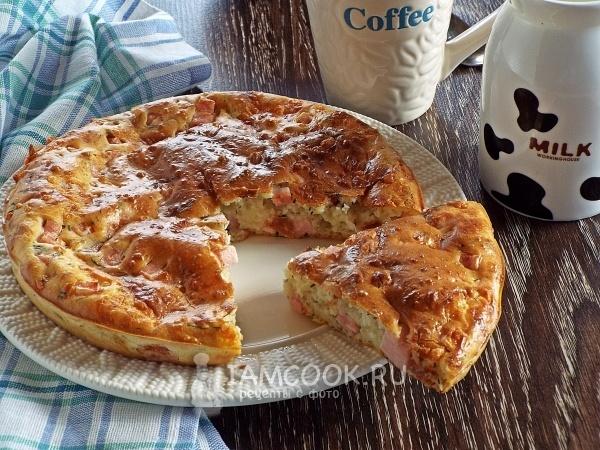 Пирог на кефире с ветчиной и сыром рецепт
