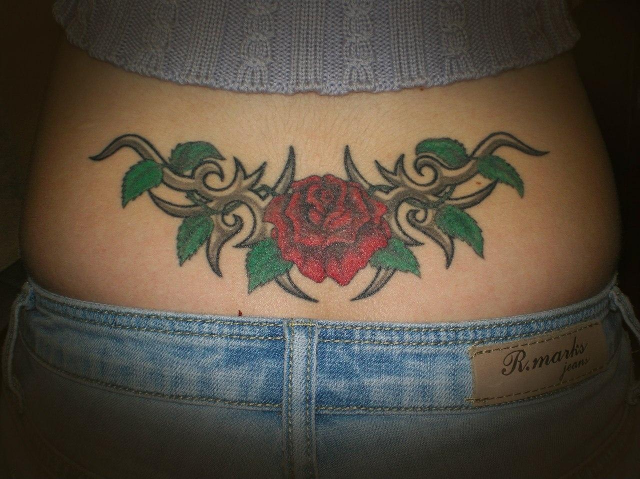 Частное тату на спине девушки