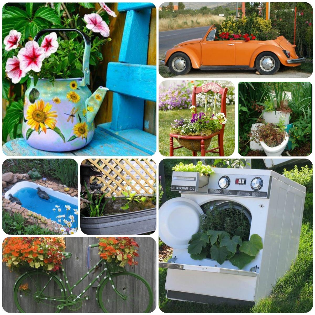 Поделки для дачи сада двора из ненужных вещей