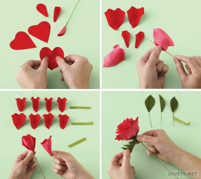 Как сделать розу поэтапно из бумаги