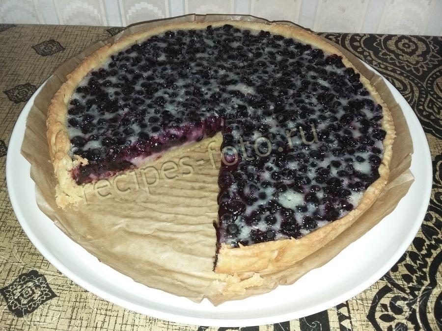 Пирог открытый с черникой рецепт с фото пошагово в духовке