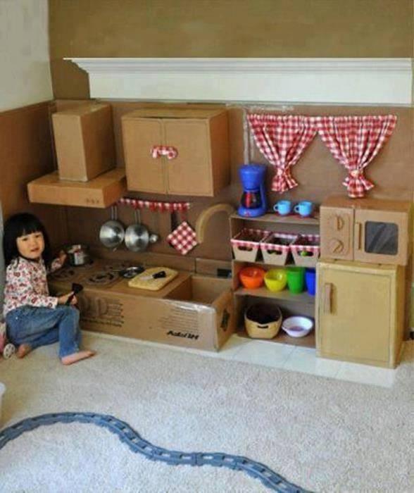 Кухня детская своими руками из картона