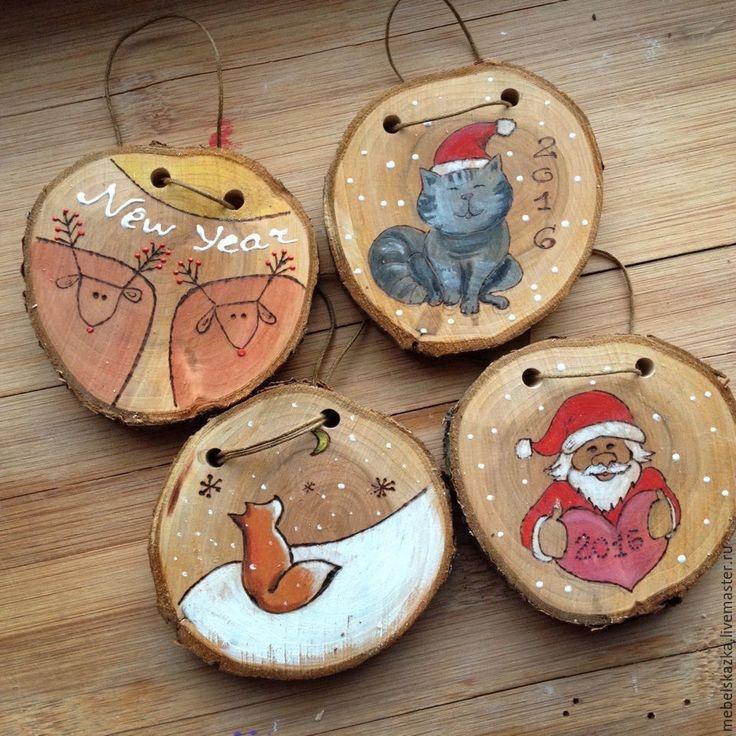 Новогодние игрушки из дерева своими руками фото