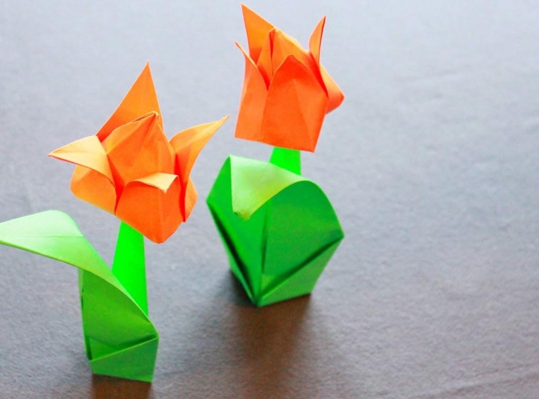 Оригами из цветной бумаги своими руками тюльпаны