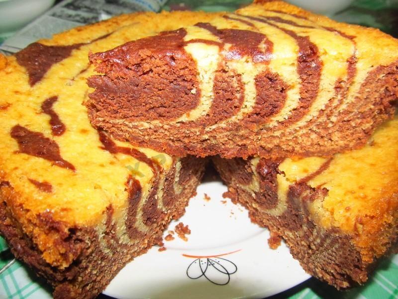 Пирог зебра рецепт с фото в мультиварке
