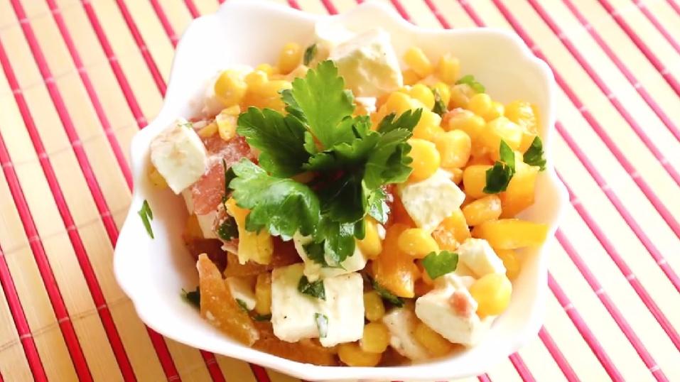 Легкий салат с кукурузой рецепт