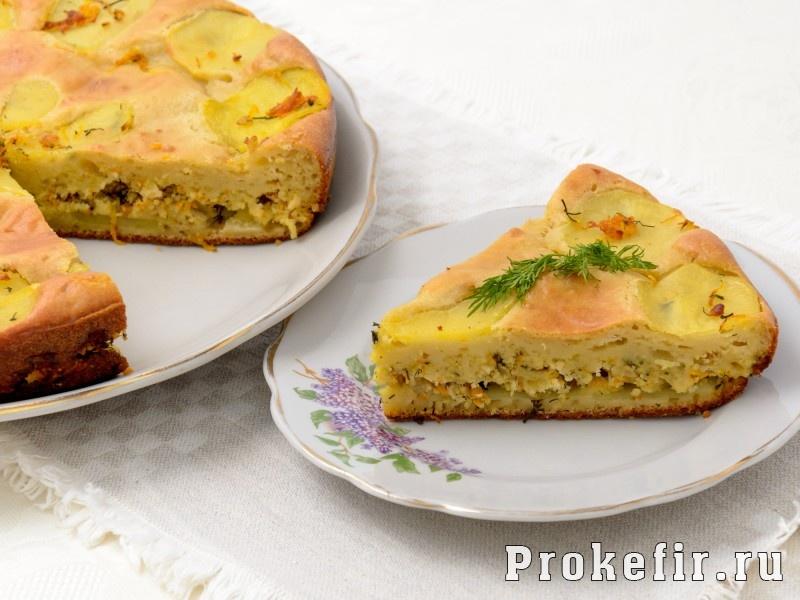 Заливной пирог с картошкой и фаршем на кефире рецепт