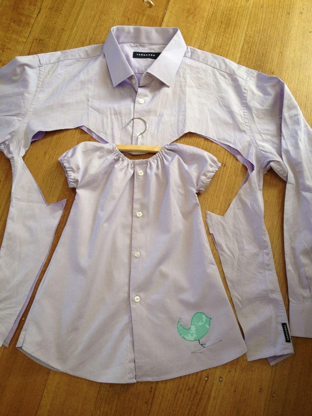 Как из папиной рубашки сделать себе рубашку