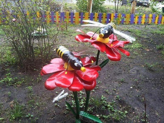 Украшение сада своими руками из пластиковых бутылок своими руками