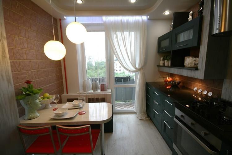 Дизайн кухни с балконом 11 метров