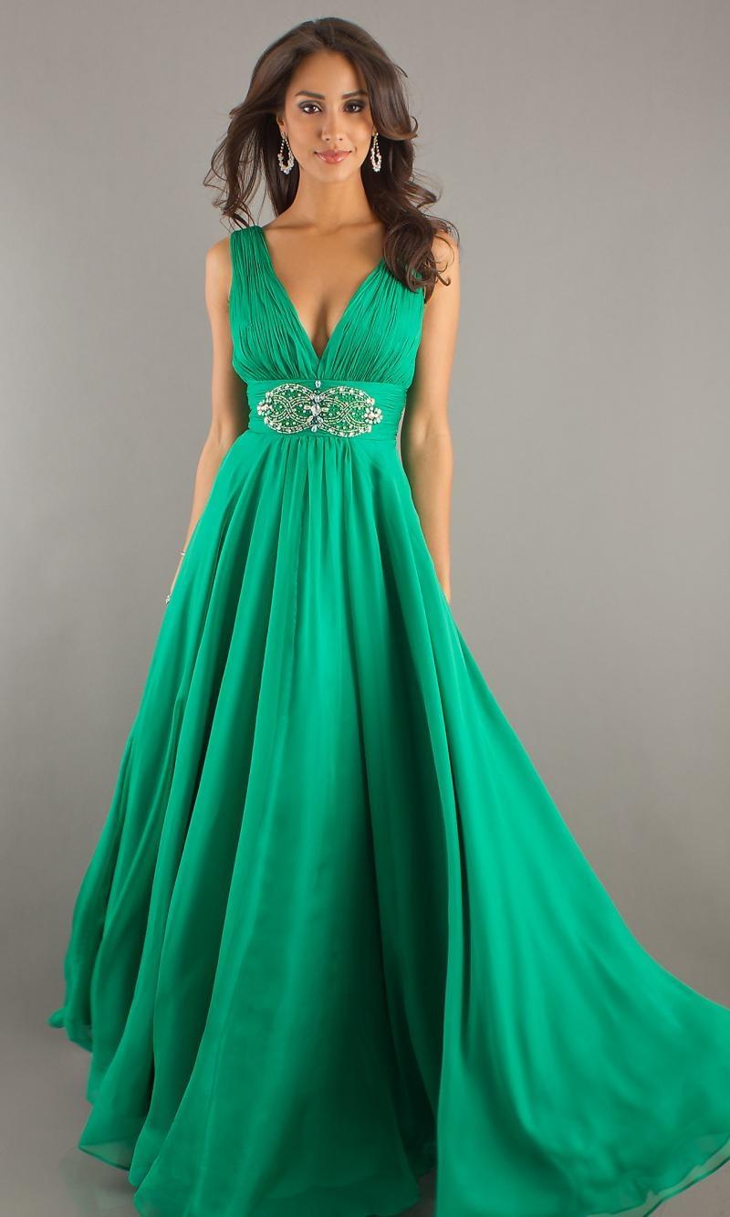 Зеленые длинные вечерние платья