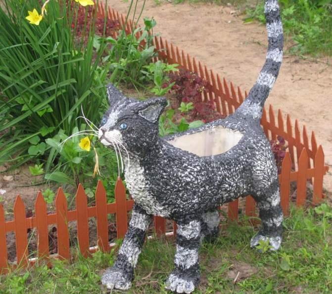 Кот из гипса для сада