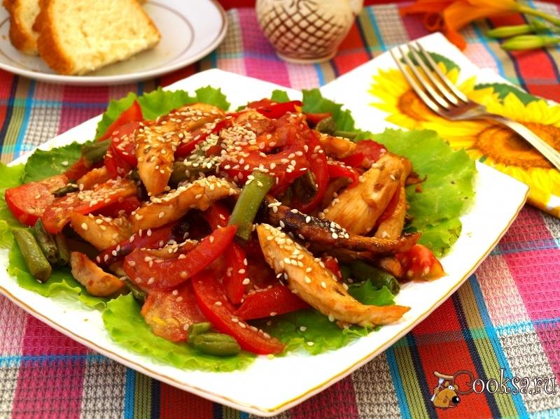 Рецепт салата с мясом и стручковой фасолью