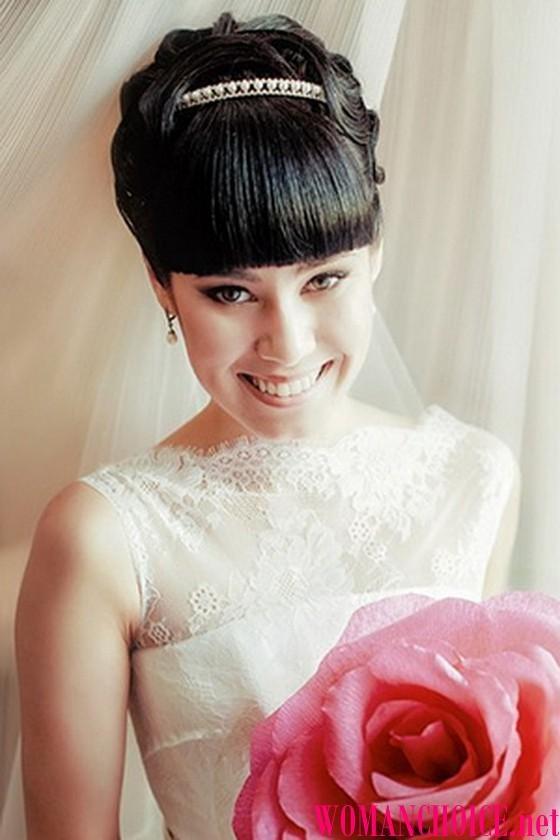 Фото свадебный причесок с челкой и фатой