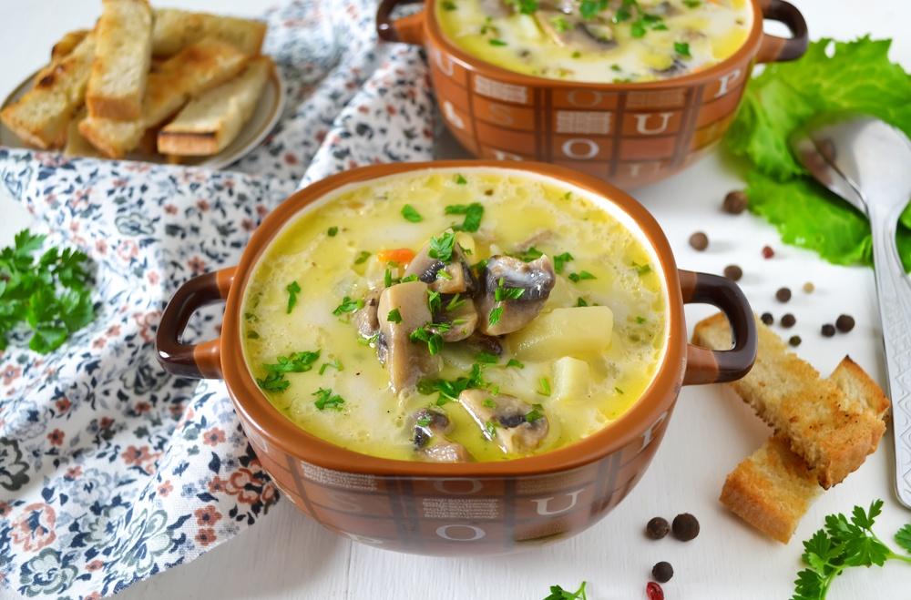Сырные супы с шампиньонамиы