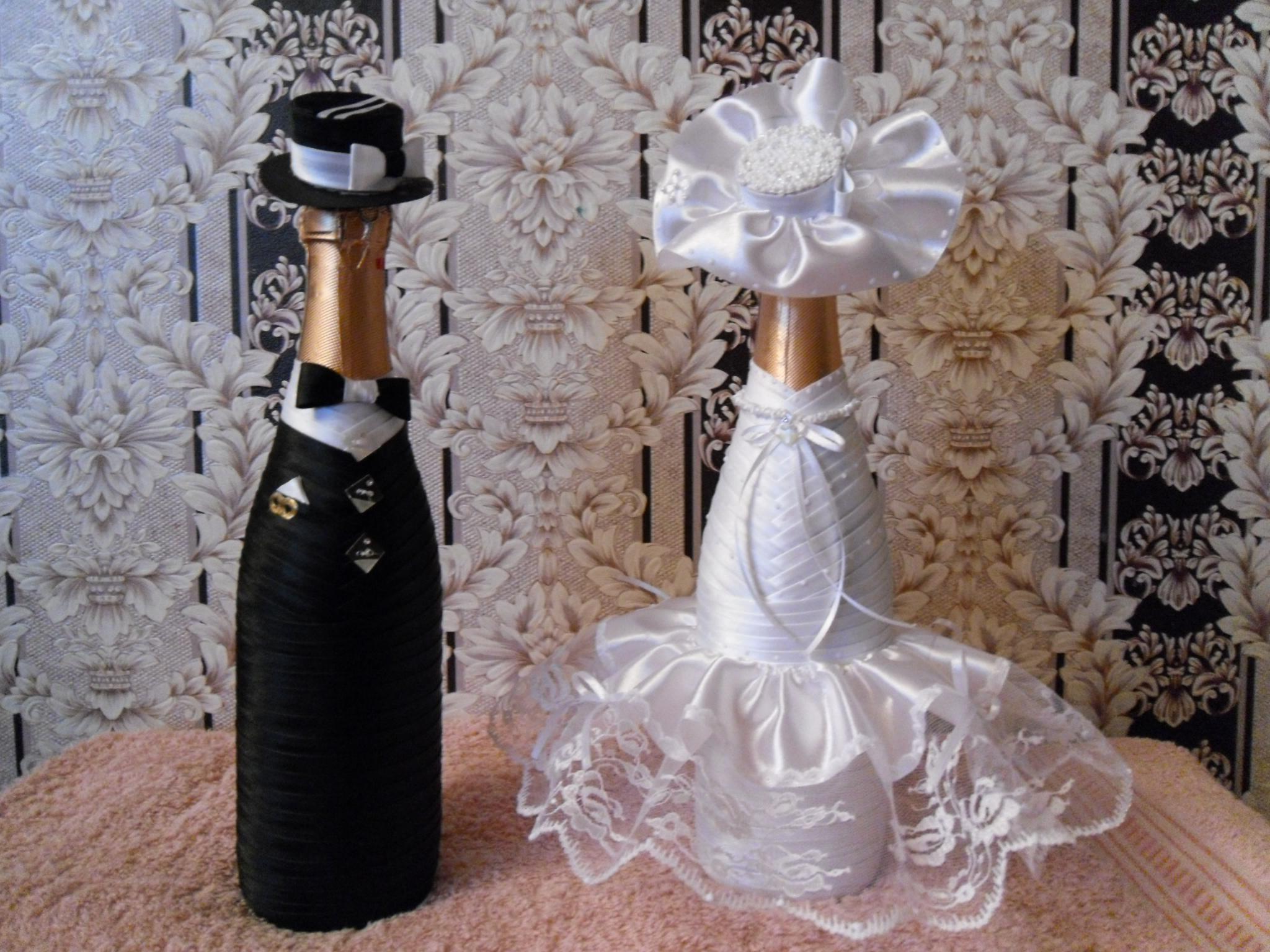Как украсить шампанское на свадьбу своими руками мастер класс фото