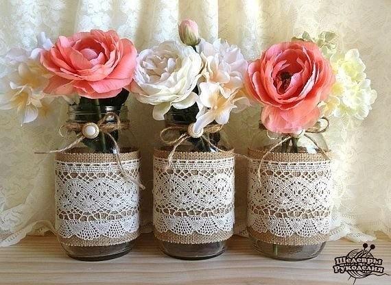 Декор вазы тканью