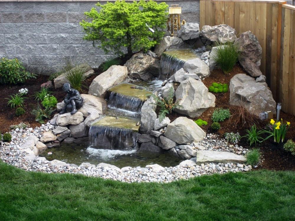 Ландшафтный дизайн фонтанов с природным камнем
