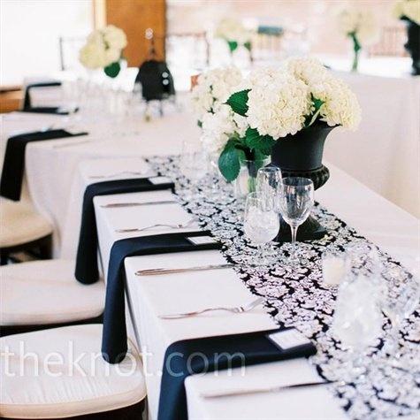 Свадьба с бело-черными цветами
