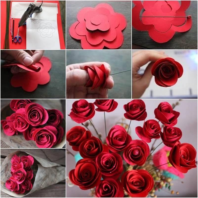 Фото делать розы из бумаги