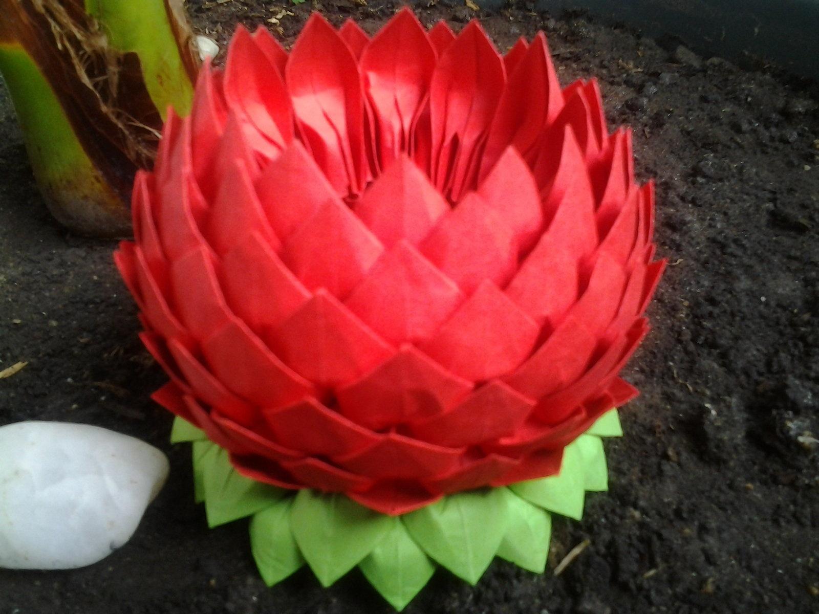 Цветок из салфеток лотос пошаговая