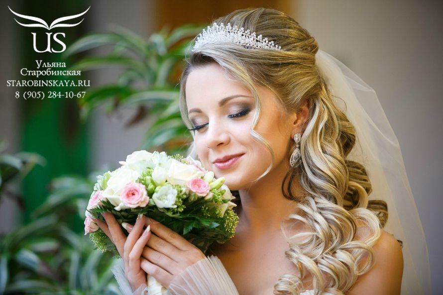 Прически свадебные фата с диадемой