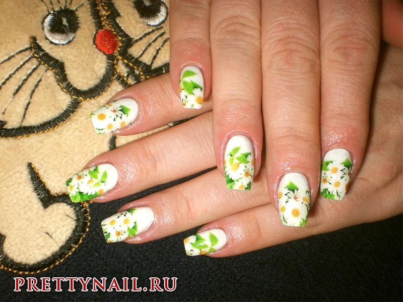 Гель лак дизайн ногтей ромашки