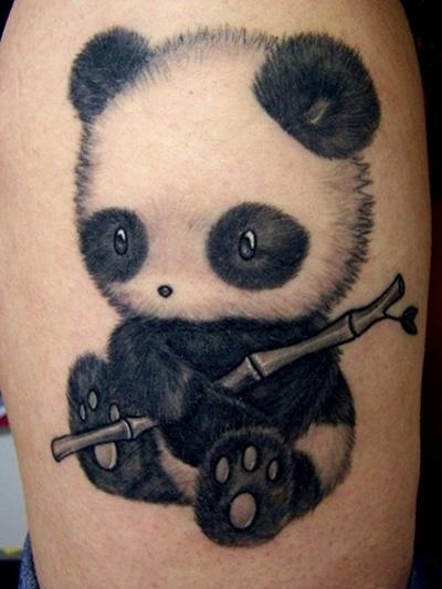 Тату бамбук и панда