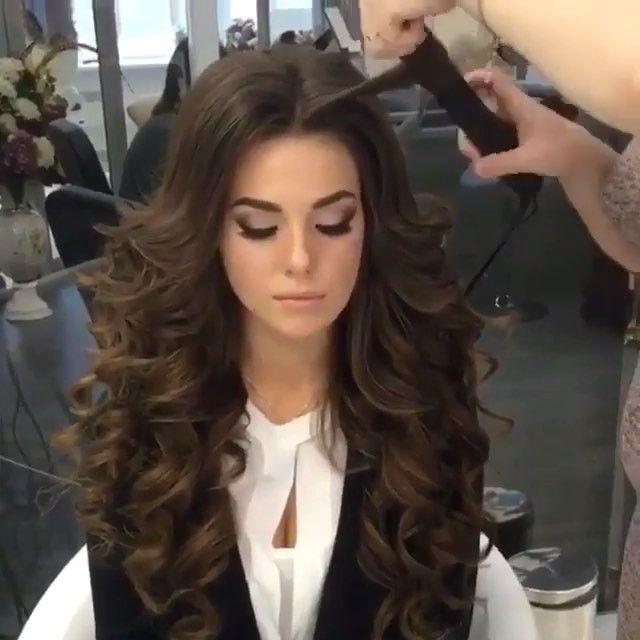 Прически на длинные волосы с локонами с челкой