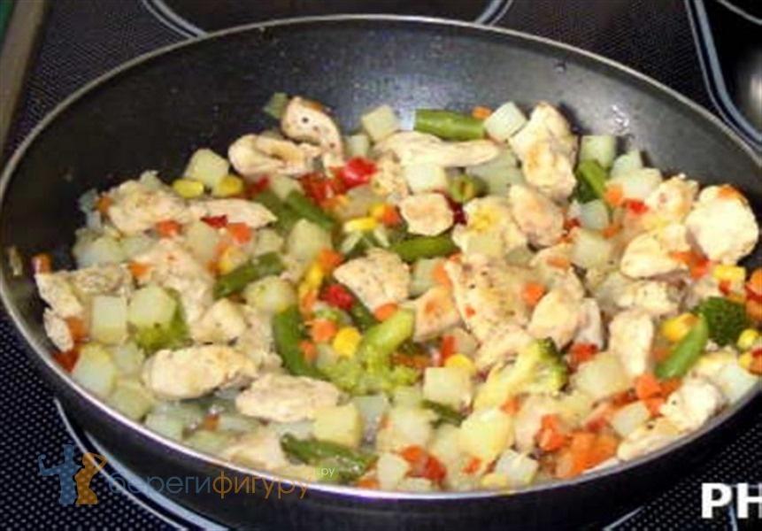 Рецепт овощной смеси с курицей