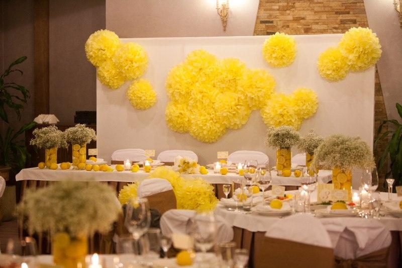 Свадебное оформление зала своими руками в желто белом