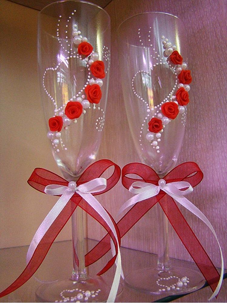 Как сделать свадебные бокалы своими руками фото пошагово