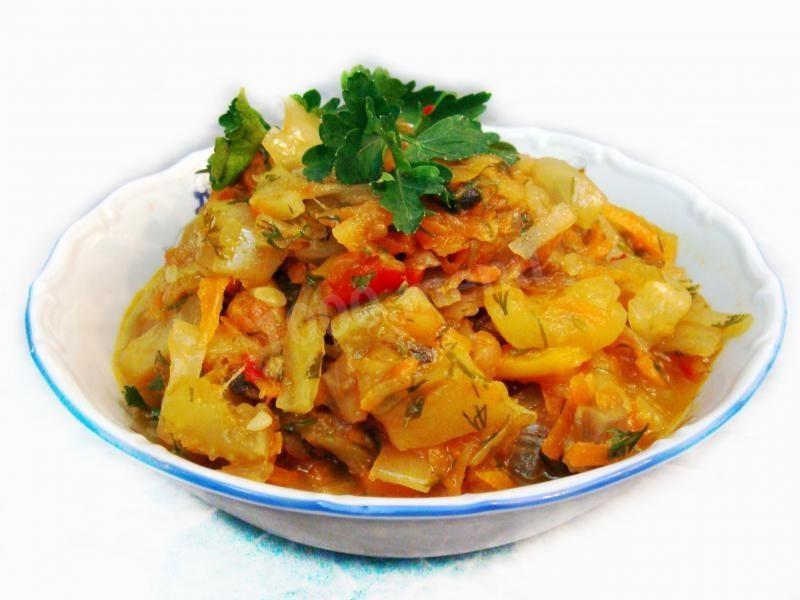 Овощное рагу с кабачками и капустой рецепт с фото пошагово
