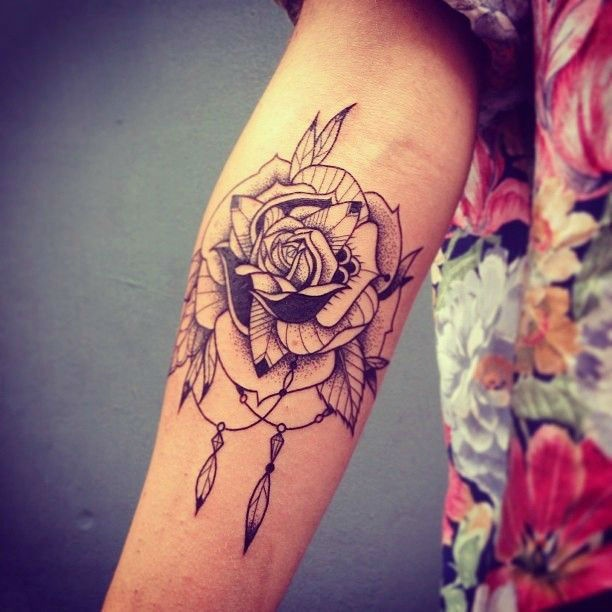 Тату розы на предплечье для девушек