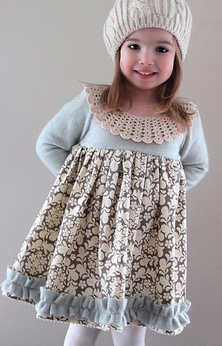 Теплое платье для девочки сшить своими руками